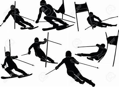 Skiing Silhouette Vector Ski Skier Downhill Alpine