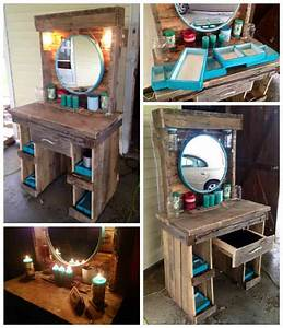 Makeup Vanity Made From Reclaimed Wooden Pallets • 1001