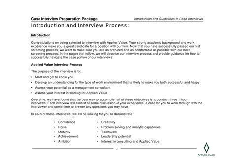 interview case case interview preparation package