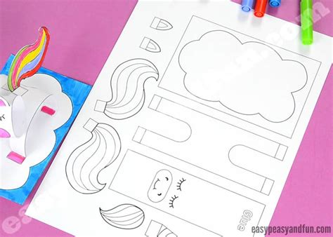 construction paper unicorn craft printable template