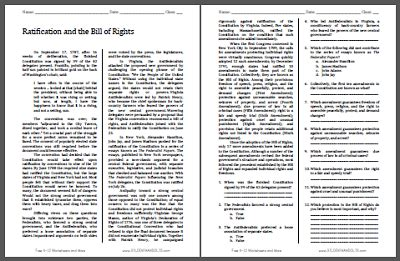 ratification and the bill of rights reading with questions