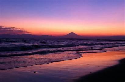 Sunset Beach During Kanagawa Japan Shonan Cities