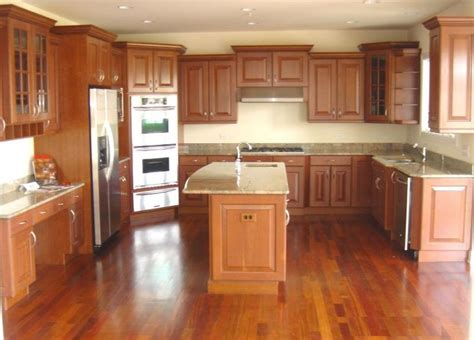 white kitchen cabinets with cherry wood floors cherry floor kitchen thefloors co 2205
