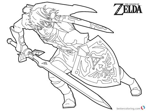 Legend Of Zelda Coloring Pages Black And White