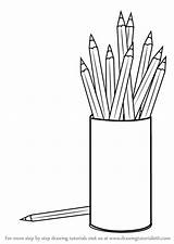 Pencil Box Coloring Draw Drawing Objects Learn Step sketch template