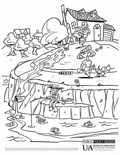 Pollution Water Coloring Drawing Pages Environment Drawings