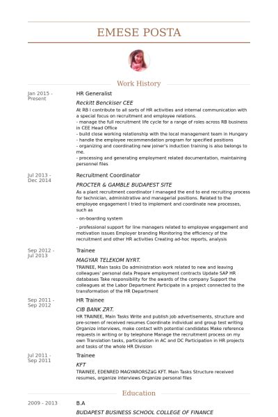 Hr Generalist Cv Sles by Sle Resume For Hr Generalist Resume Cv Cover Letter
