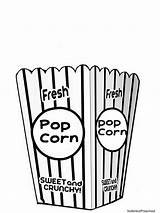Popcorn Coloring Clipart Bag Printable Pages Clip Bucket Box Template Crafts Carnival Tub Empty Preschool Theme Printables Letters Circus Bags sketch template