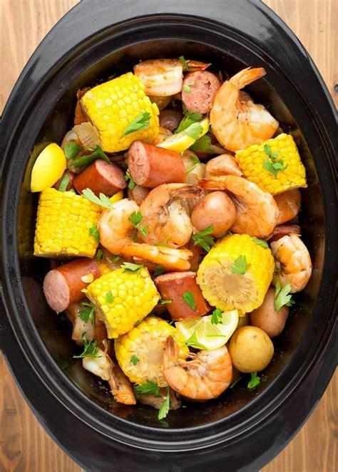 shrimp boil cooker slow pot crock sausage cajun potatoes corn meal happy tasty boiled recipes meals cooked crockpot broth cooking