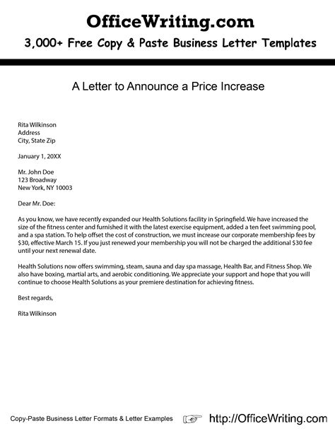 price increase letter samples business plans