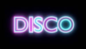 Disco neon sign lights logo text glowing multicolor Motion ...