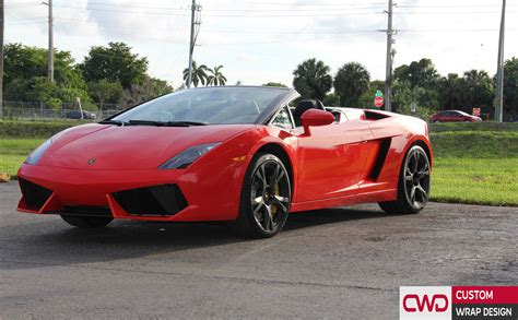 convertible lamborghini red lamborghini gallargo spyder gloss red wrap