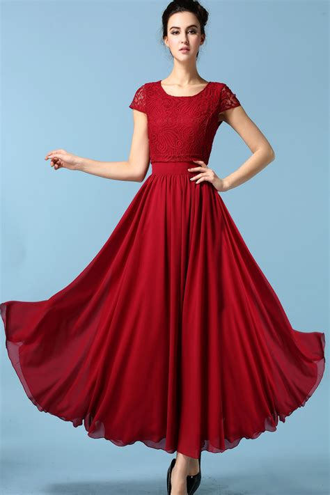 JHONPETER WOMENS ELEGANT LONG LENGTH PLEATED SKIRT STYLE DRESS RED - Jhonpeters