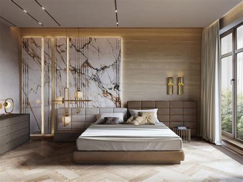 Luxury Bed Design Ideas by Interior Design Using Marble And Wood Combinations