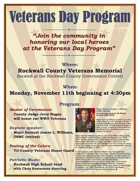 veterans day program rockwall veterans day program to honor local heroes blue ribbon news