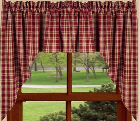 barn red providence plaid window curtain swag    raghu