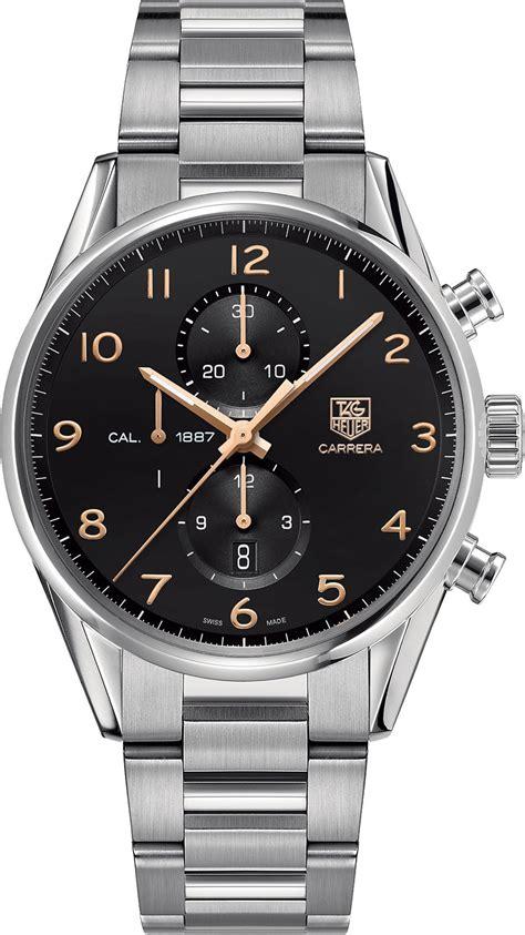 tag heuer carrera calibre  black chronograph mens