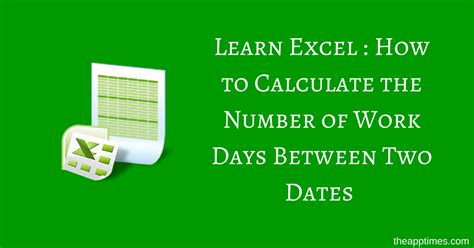 calculate number work days excel