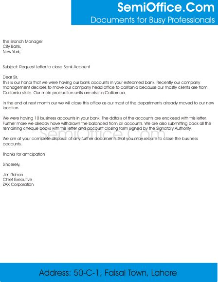 sle letter to bank account of company