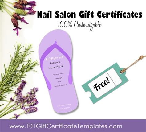 Free Pedicure Gift Certificate Template by Nail Salon Gift Certificates