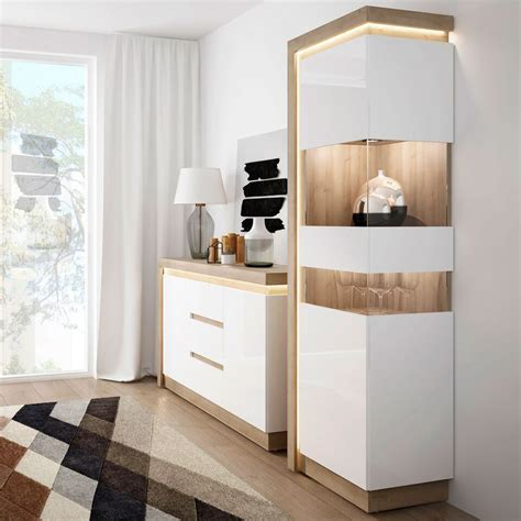 white high gloss oak finish display cabinet RH   Homegenies