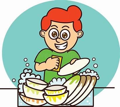 Dishes Washing Vaisselle Cartoon Faire Clipart Tecknad