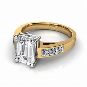emerald cut channel set diamond engagement ring With emerald cut wedding ring set