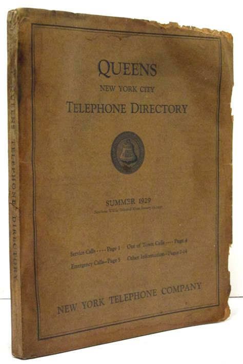Queens New York City Telephone Directory (summer 1929) By