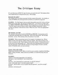Critique Example Essay  Underfontanacountryinncom Critique Example Essay