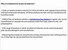Car battery recycle and disposal