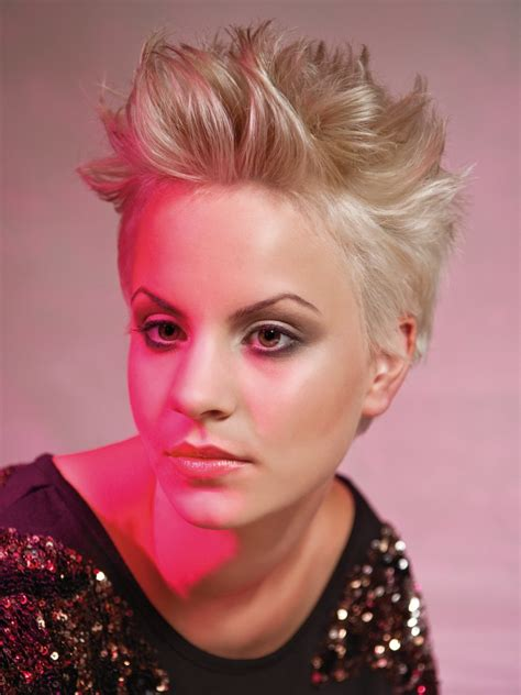 glamorous short hairstyle with the hair styled upright
