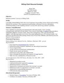 resumes for billing billing clerk resume sle resumes design
