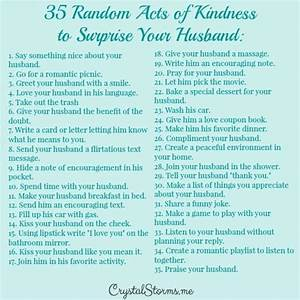 Random Acts of Kindness to Surprise Your Husband - Crystal ...