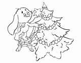 Tree Christmas Rabbit Coloring Decorating Coloringcrew sketch template