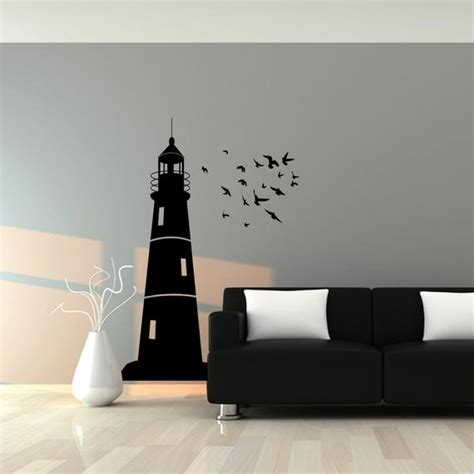 lighthouse wall decal with flock of birds nautical wall