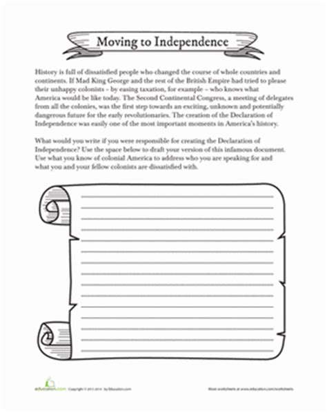 american independence worksheet education