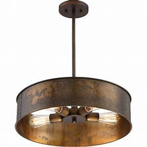Kettle weathered brass four light pendant nuvo lighting