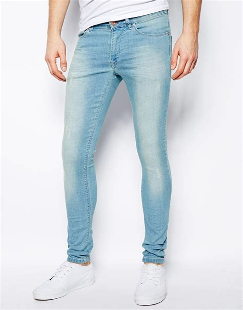 light wash skinny jeans mens lyst asos extreme super skinny jean in light wash in