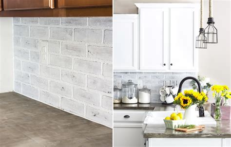 Faux Brick Tile Backsplash : Diy Kitchen Backsplash Ideas