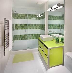 Deco reposante et tendance en vert pour la salle de bain for Salle de bain design avec décoration dinosaure