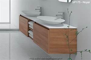 Meuble Salle De Bain Noyer : tr s grand meuble suspendu sp 175 cm avec deux vasques ovales en solid surface ~ Melissatoandfro.com Idées de Décoration