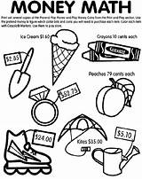 Money Math Coloring Printable Colouring Maths Crayola Play Worksheets Coins Currency Dollar Cool English Education Bills Management Learning Related Shapes sketch template