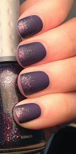22. Matte Purple with Glitter - Got Short Nails? Here Are ...