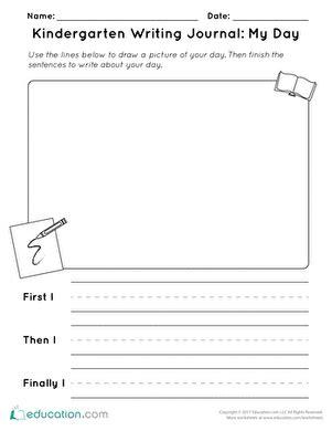 kindergarten writing journal my day worksheet