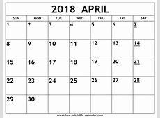 April 2018 Printable Calendar monthly printable calendar