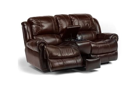 Flexsteel Power Reclining Loveseat by Flexsteel Capitol Power Recline Loveseat With Console