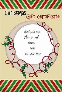 holiday gift certificate template free printable - free christmas gift certificate template customize