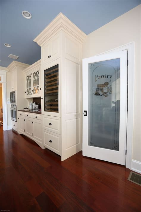 4 Door Kitchen Pantry White White Painted Cabinetry And Etched Glass Pantry Door
