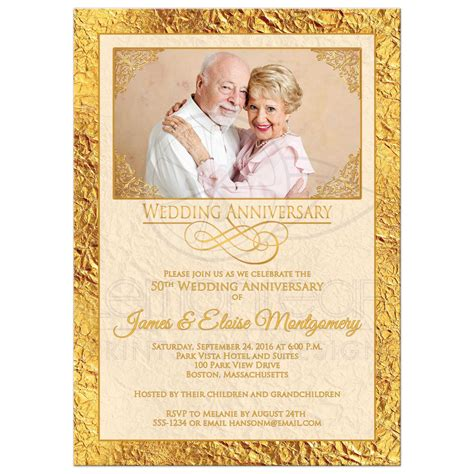 50th Wedding Anniversary Photo Invitation Ivory Gold