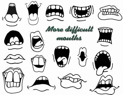 Cartoon Drawing Faces Mouths Expressions Mouth Eyes